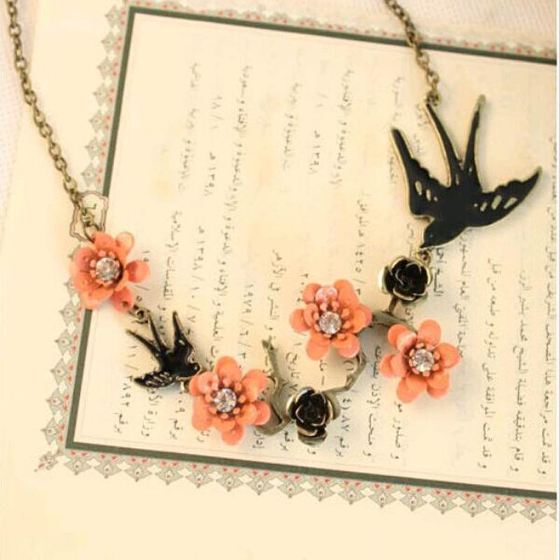 2017 Hot Fashion Charm Alloy Jewelry Necklace Gift Pendant Weeding Flower For Women Bird Trendy Fine Girl Collares