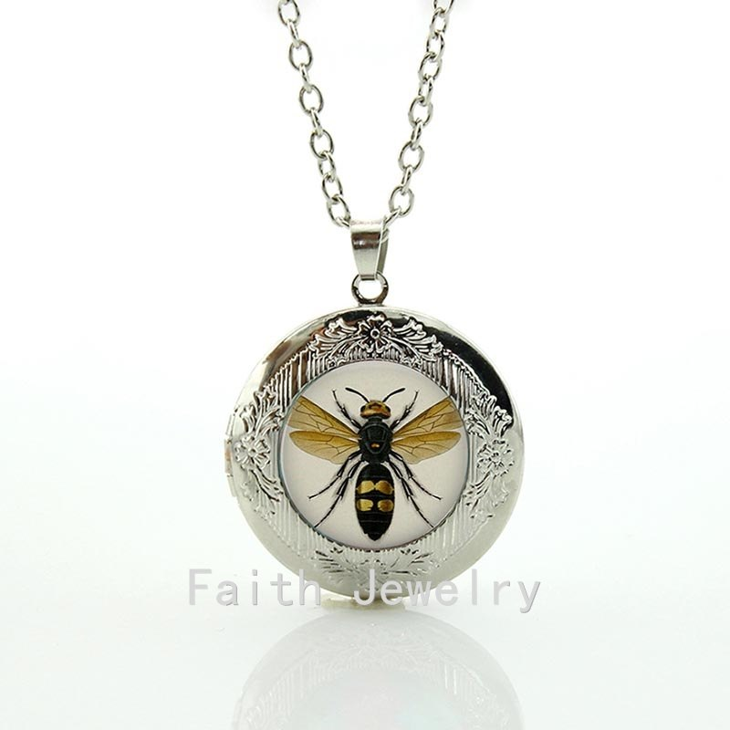 2020 Limited Maxi Necklace Collares Collier Bee Lithograph Handcrafted Pendant Necklace - Natural History Jewelry Locket N633