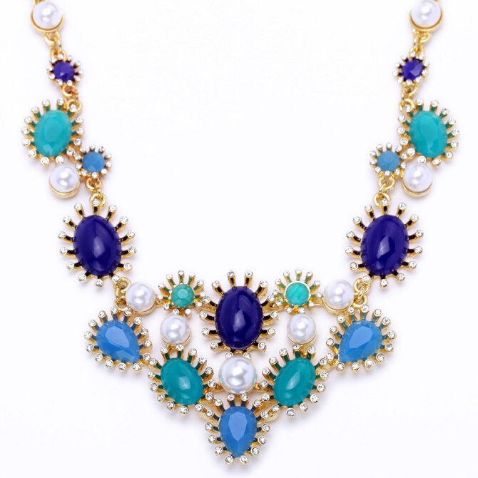 2015-New-Design-Fresh-Blue-Color-Collar-Necklace-For-Women-Fashion-Acrylic-Jewelry-Wholesale