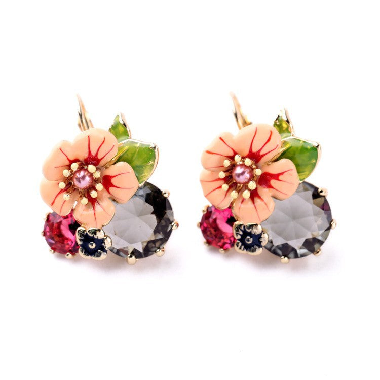 2017 Limited New Arrival Zinc Alloy Jewelry Sets Jewelry Wholesale/ Enamel Flower Bird Earring Ring Set Daily Bijoux