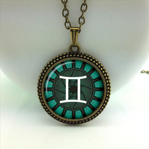2020 New Arrival Limited Trendy Women Maxi Necklace Collares Collier Gemini Pendant Necklaces Glass Zodiac Sign Jewelry HZ1