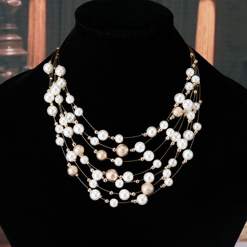 2017 New Fashion Jewelry Gold Color  Chain Imitation Pearls Necklaces For Women Wedding Bride Necklace