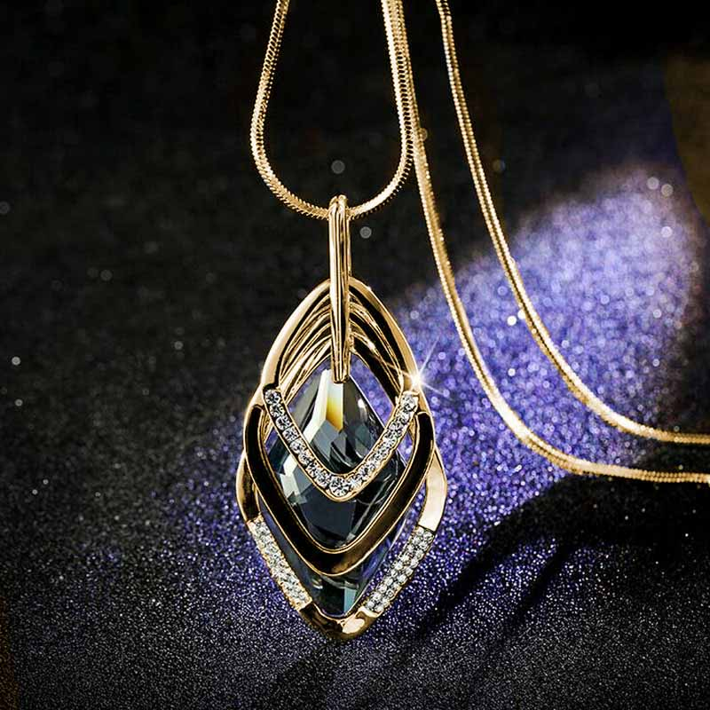 2017 New Fashion big crystal Multi layer geometry Accessories Pendant Necklace Fine Jewelry for women personality Sweater Chain