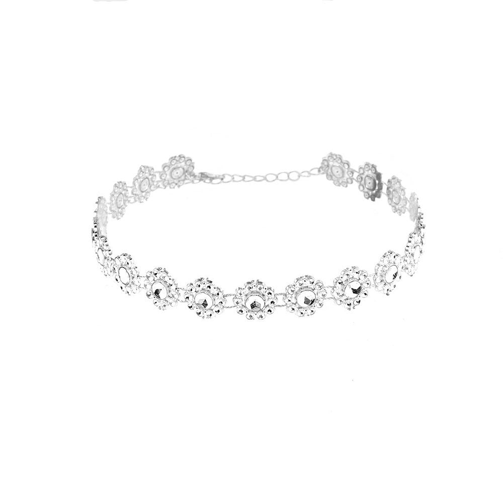 2020 New Gold  Lady Diamante Choker Necklace Rhinestone Silver Crystal Party Bridal Necklace collier Femme Colares USP