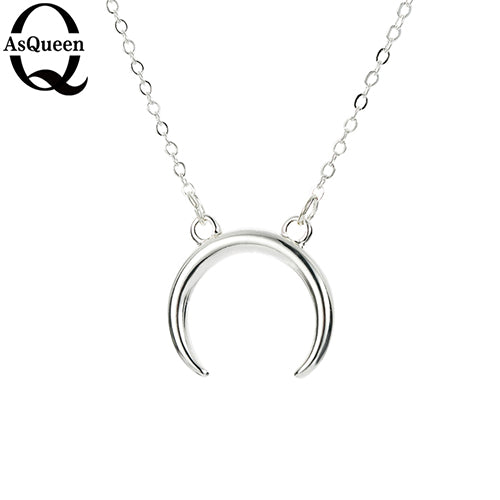 2017 New Gold Silver Simple Crescent Moon Women Necklace Plain Half Moon 17mm Pendant Necklaces for Women Couple Necklace
