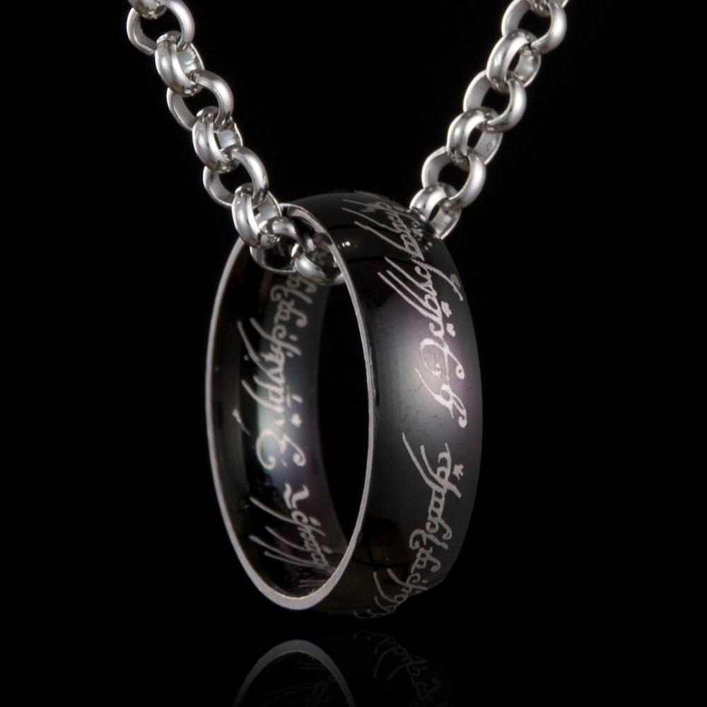 2017 New Hobbit Letter Lord of One Rings For Men Black Gold Silver Titanium 316L Stainless Steel Ring Movie Pendant Chain 3Color