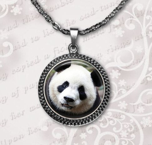 2020 New Limited Classic Women Animal Maxi Necklaces Collier Panda Bear Necklace Pendant Jewelry Glass Dome Pendants HZ1