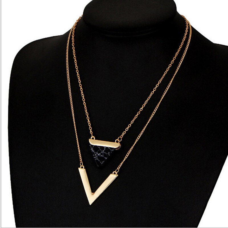 2017 New Triangle Turquoises Necklace For Women Gold Color Chain Chocker Necklace for Lady