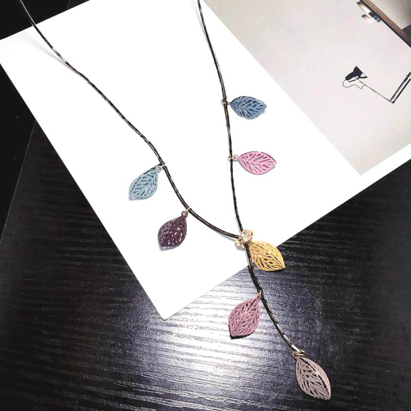 2020 New Simple Colorful Leaves Long Necklace Women Costumes Accessories Fashion Jewelry Cute Gifts Bijoux