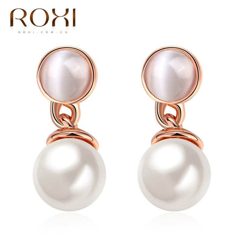 2020 Brand Milky Pearls Crystal Stud Earrings Rose Gold Color Wedding Beads Jewelry For Romantic Mother's Gifts
