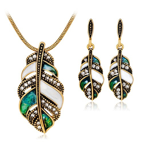 2017 Top Fashion Limited African Beads Jewelry Set Tree Leaves Necklace Earrings Three - Piece Jewelry Sets Europe And The Wind