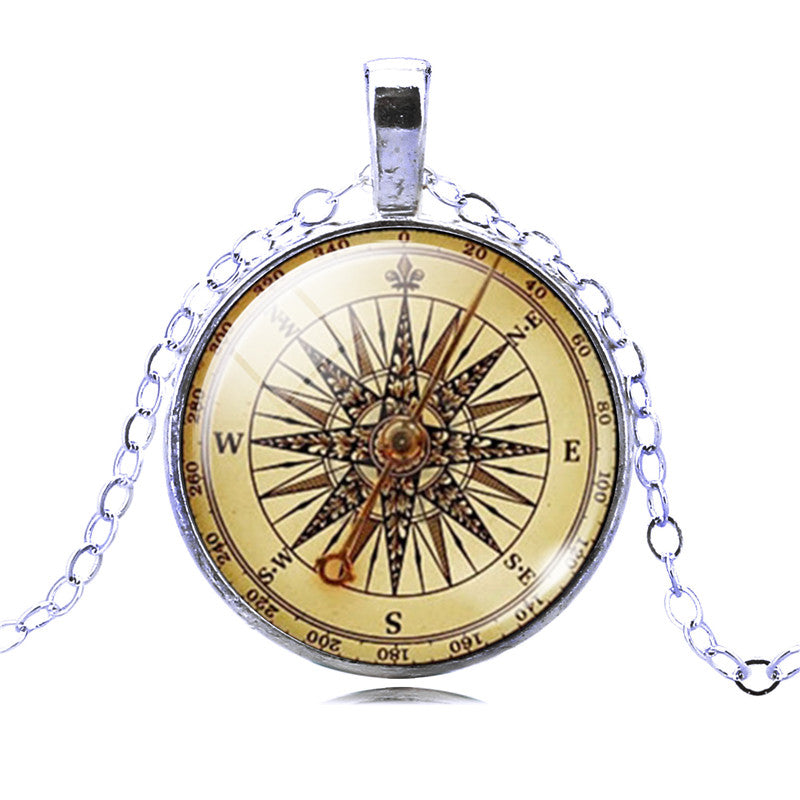 2020 Vintage Jewelry Sliver / Bronze Color Compass Glass Cabochon Necklace Pendant for Christmas Gift