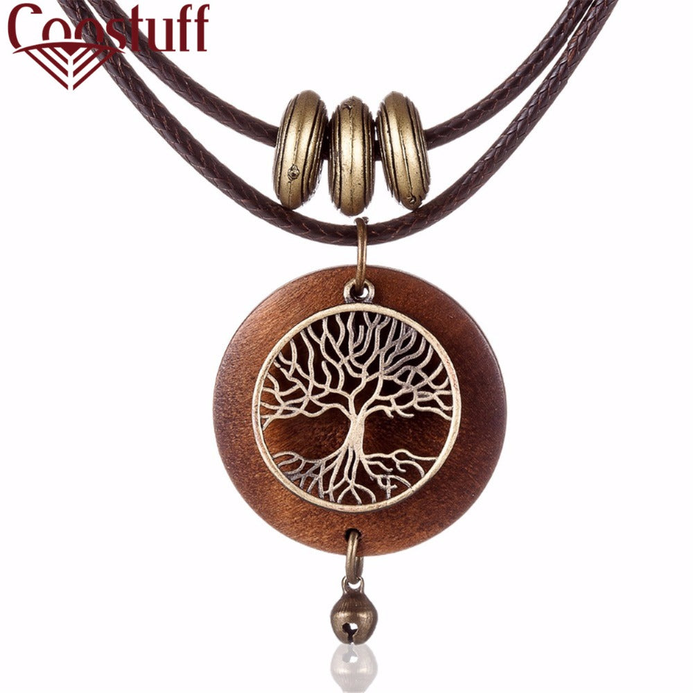 2020 chokers Woman Necklaces vintage Jewelry Tree Design Wooden pendant Long necklace for women collares mujer kolye