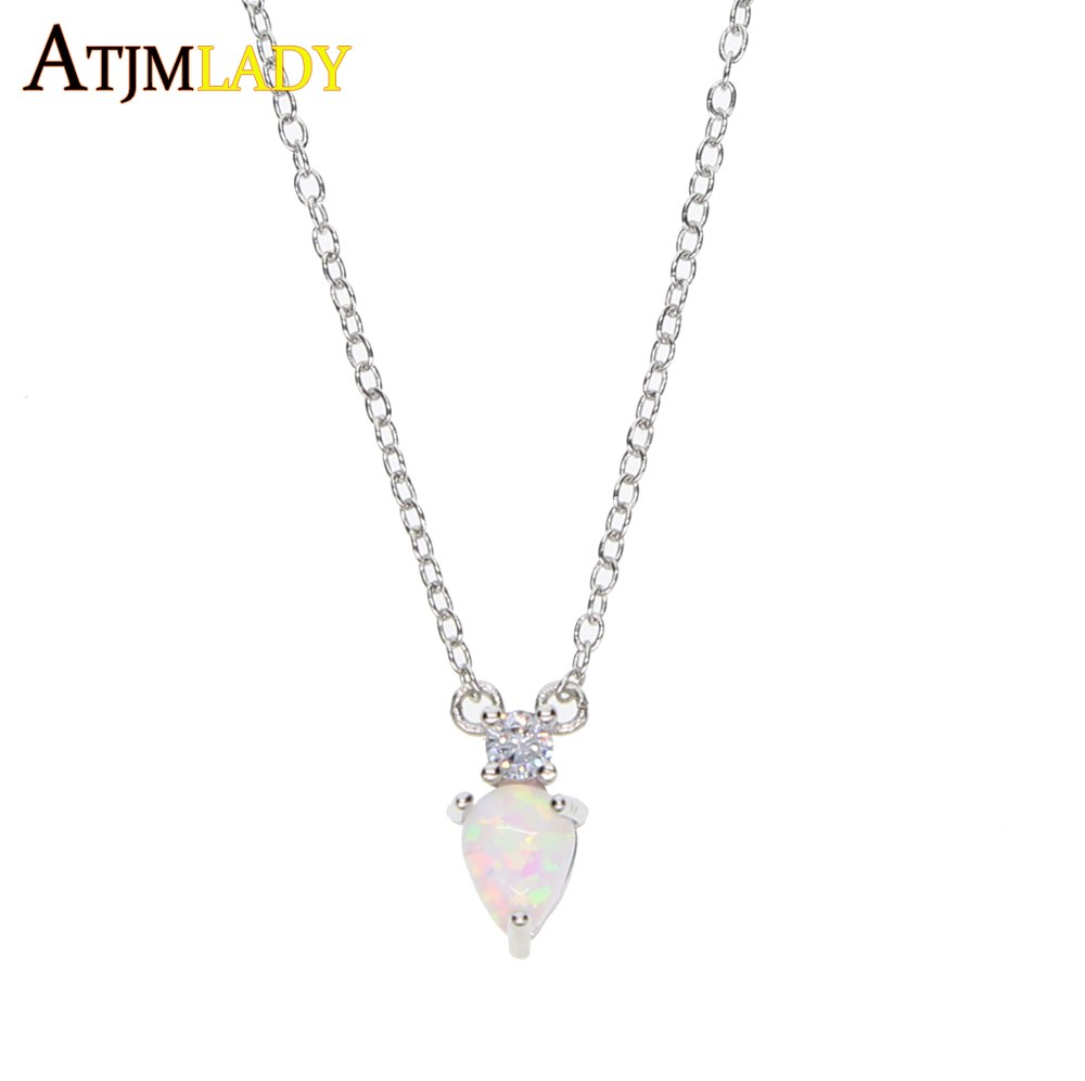 2017 dainty delicate jewelry 100% 925 sterling silver tear drop white fire opal small cute charm classic simple necklace 925