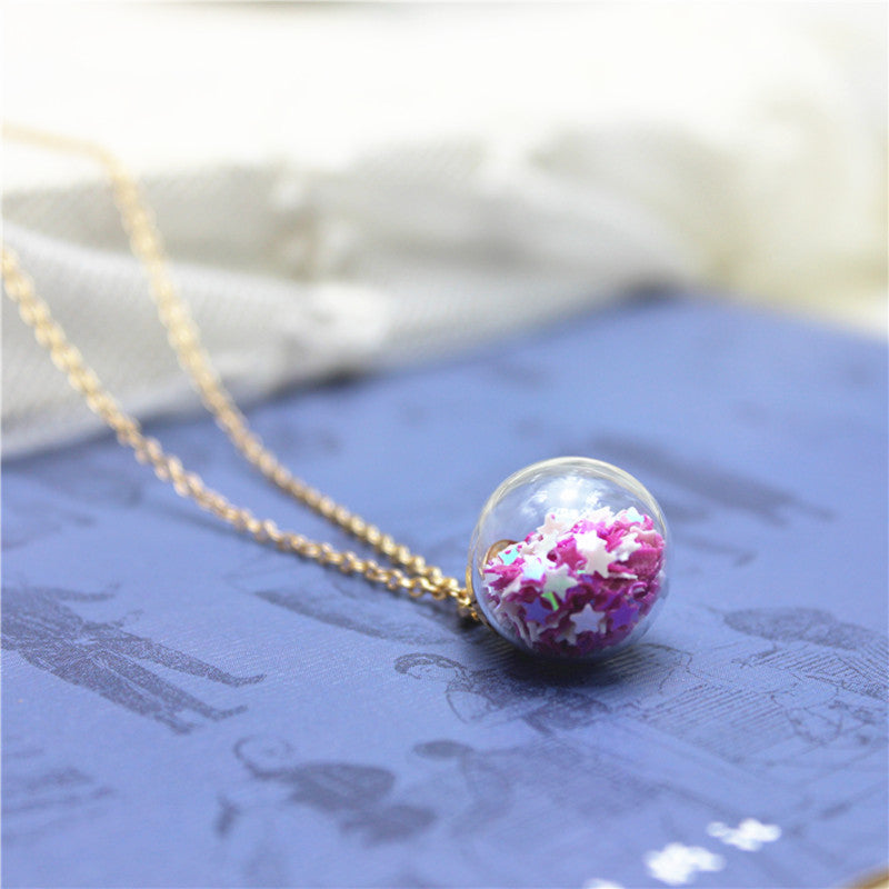 2020 new design summer style glass beads necklaces&pendants vintage simple colourful star statement cute necklace for women