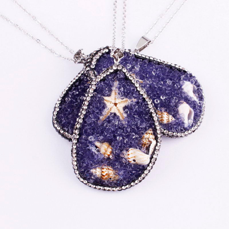 2020 Fashion Raw Necklaces Pendants for Women Silver Chain Starfish Drusy Crystal Quartz Grode Stone Long Necklace Jewelry