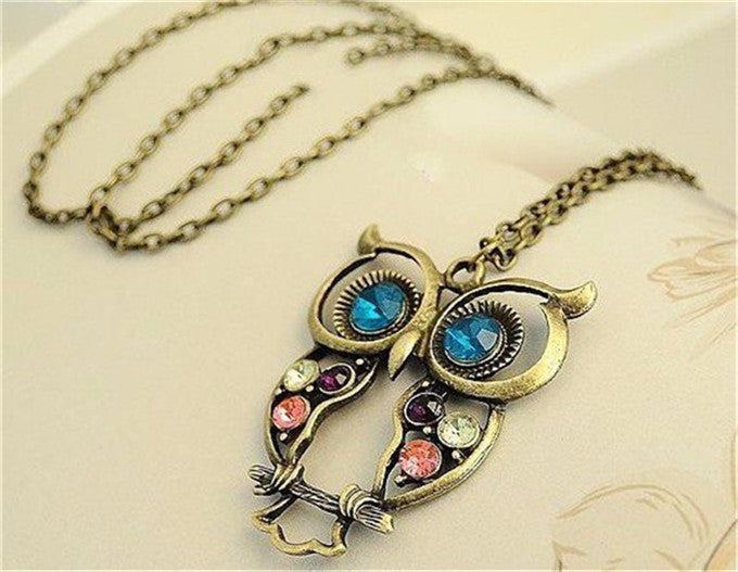 2018 Hot Fashion Womens Necklaces Jewelry Trendy Charms Crystal Owl Necklace black Long Chain Animal Necklaces&Pendants Sale