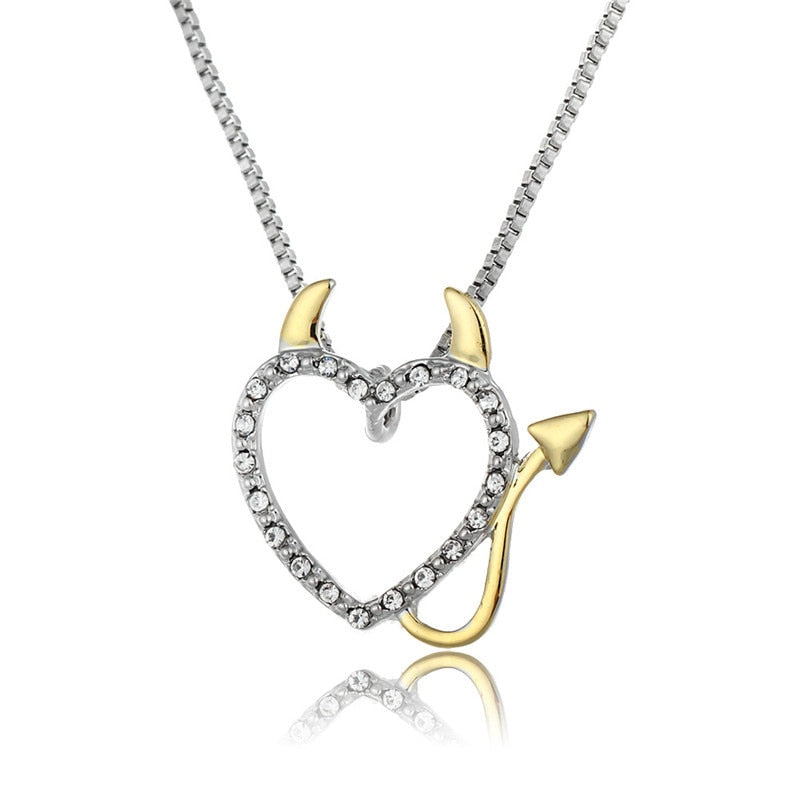 2018 Hot Gold and Silver Plated Love Heart Accent Devil Heart Pendant Necklaces Jewelry for Women Ladies Cute Crystal Gifts