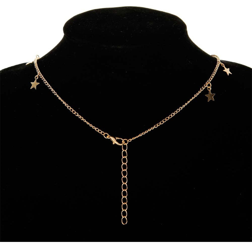 2020 Hot Sale Simple Bohemia Style Women Chocker Golden Silver Chain Star Choker Necklace Collana Kolye