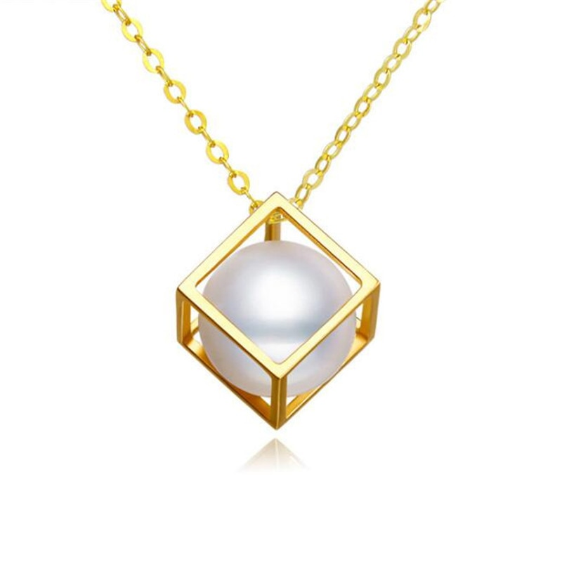2018-Limited-New-Accented-Classic-18K-Gold-7mm-Pearl-Necklace-Jewelry-Cube-Pendant-Women-Fine-Necklaces