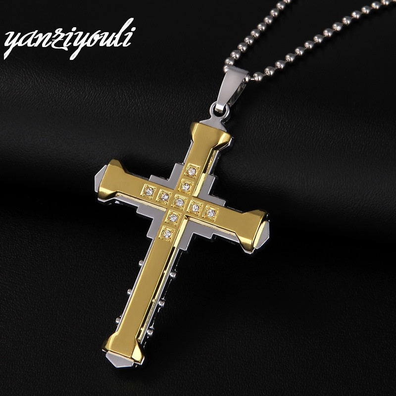 2018 Male Crystal Cross Pendant Silver Gold Black Stainless Steel Zirconia Jesus Cross Pendant Necklace Jewelry For Men D184