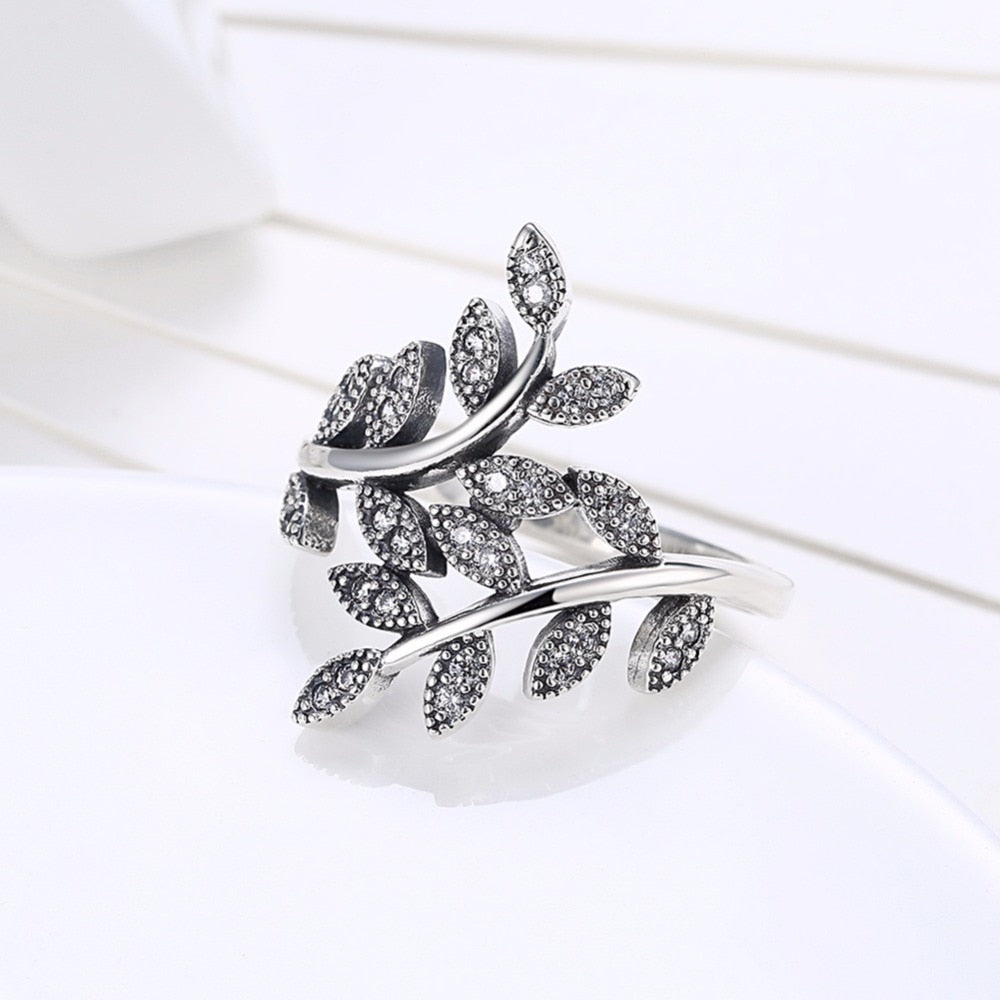 2018 NEW 925 Sterling Silver Branches and leaves Finger Ring ring Fit Original for Women Engagement Fashion Jewelry Jewelry