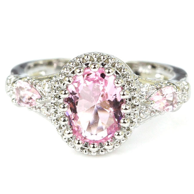 2020 New Arrival Pink Kunzite Woman's Wedding 925 Silver Ring 21x12mm