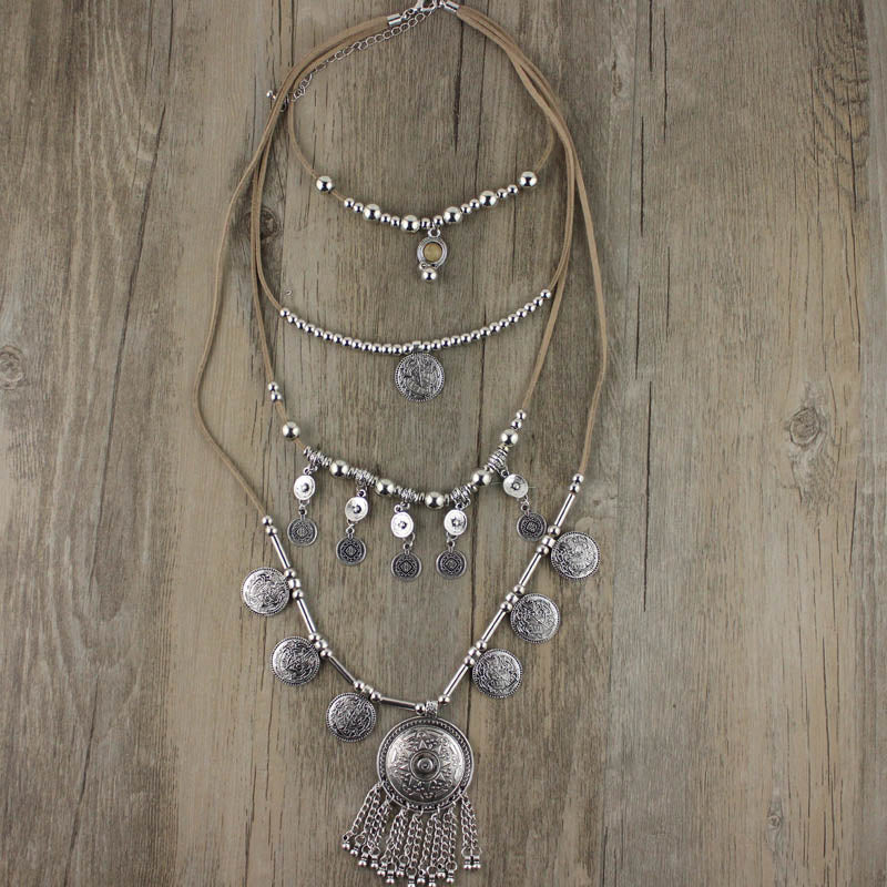 2020 New Arrived Handmade India Silver Coin Pendants Long String Leather necklaces Ethnic Jewelry for Woman party Gift