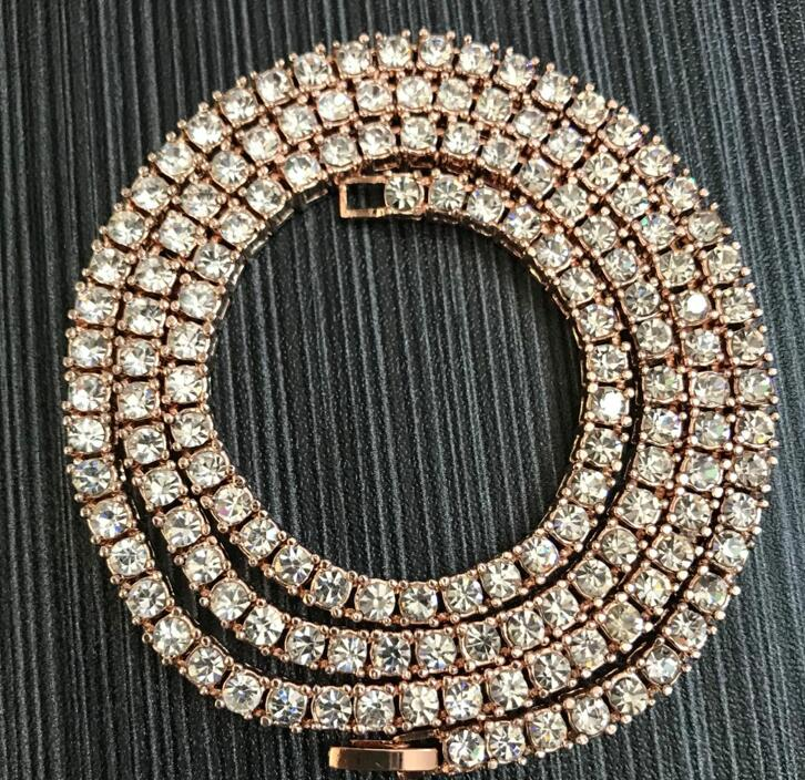 2020 New Color 3/4/5mm 1 Row Round Cut Rhinestone Tennis Chain Necklace 16-36inch Gold, Silver, Black, Rose Gold, Gun Black