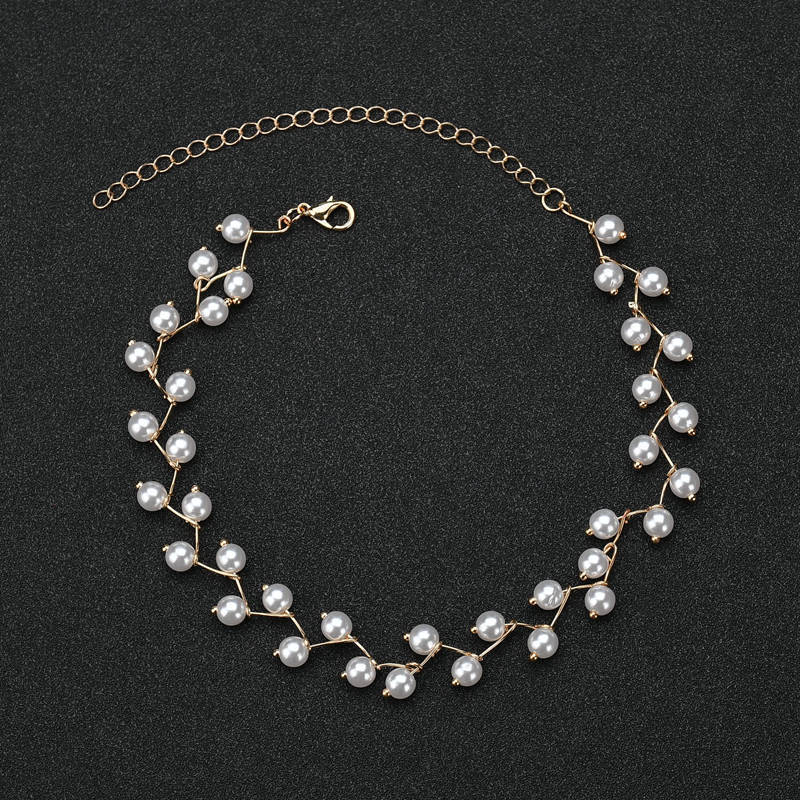 2020 New Fashion irregular Pearls Necklaces Jewelry Polyline Gold Multilayer Chain Imitation For Women Wedding Bride Necklace