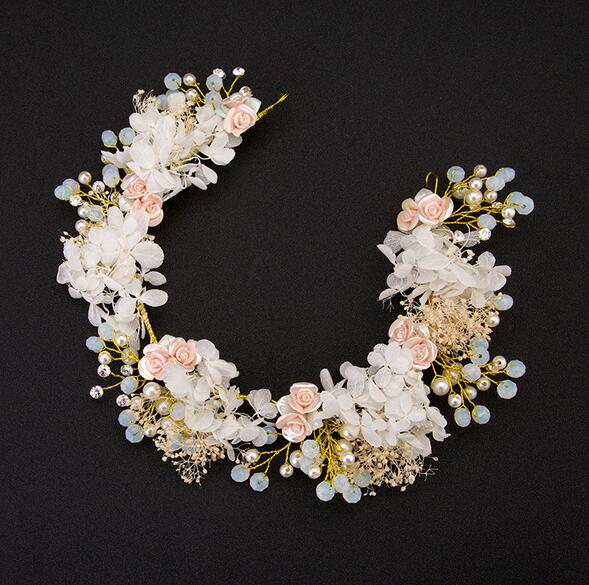 2020 New Handmade Luxury Prom Wedding Hair Accessories Hair Jewelry Bridal Flower Headdress Pearl Beads Headpieces For Brides