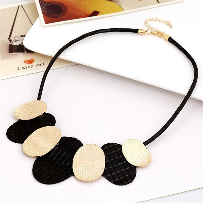2020 New Hot Maxi Necklace Colar Big Brand Collares fine Jewelry pendants Bijoux Woman metal leather cord temperament necklace