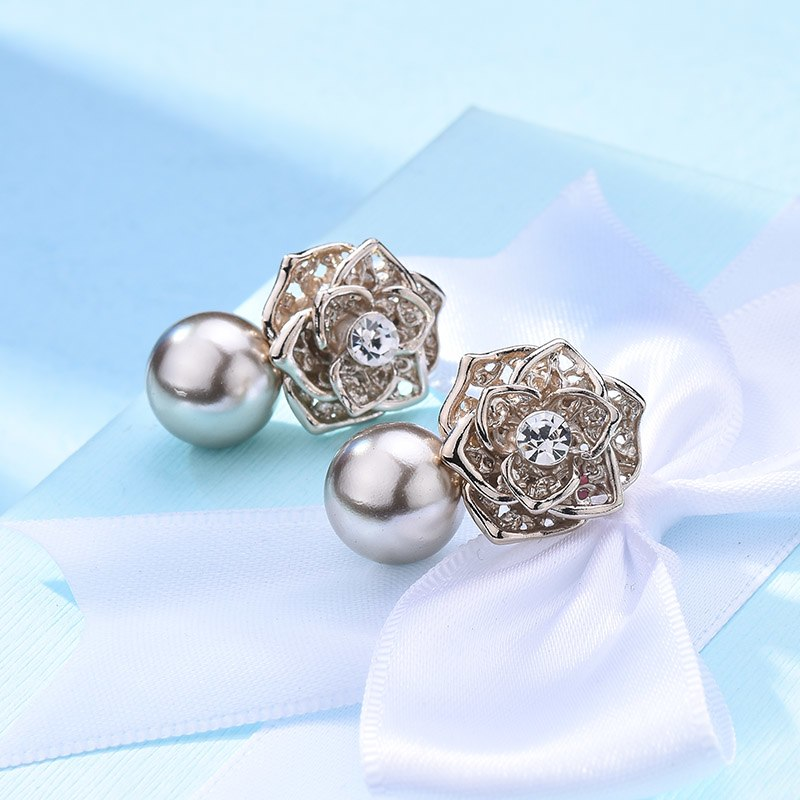 2020 New Rhinestone Rose Flower Stud Earrings For Women Fashion jewelry Coffee Gold Color Simulated-pearl Earring Gift