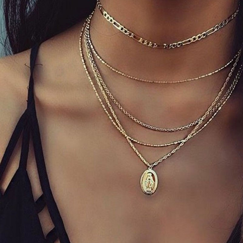 2020 New Summer Gold Silver Love Lock Crystal Pendant Necklace Ladies Boho Simple Choker Necklace Fashion Jewelry
