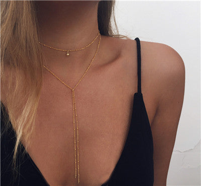 2020 Simple Gold Silver Color Link Chain Choker Necklace Long Beads Tassel Necklaces For Women clavicle collar collier wholesale
