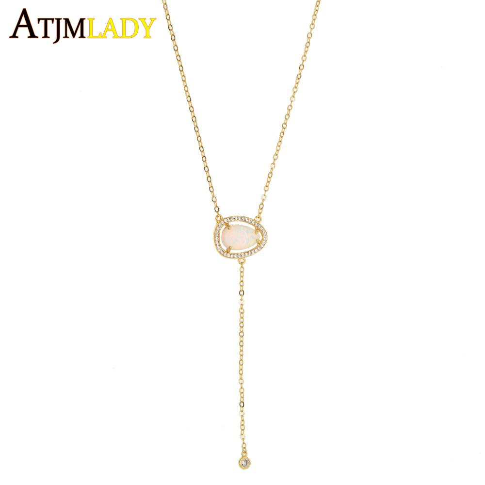 2018 Tear drop opal Charm Necklaces For Women Fashion Lady White Cubic Zirconia Long pendant cute delicate simple sexy necklace
