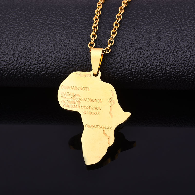 2020 gold silver color Stainless Steel Hiphop Map of Africa pendant necklaces fashion trendy necklace Men/Women Jewelry gifts