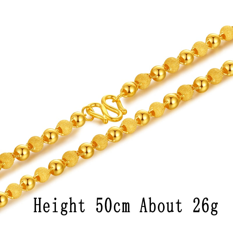 5e7e860a34588 24K Pure Gold Necklace Real AU 999 Solid Gold Chain Nice Smooth Matte Beads  Upscale Trendy Party Fine Jewelry Hot Sell New 2018