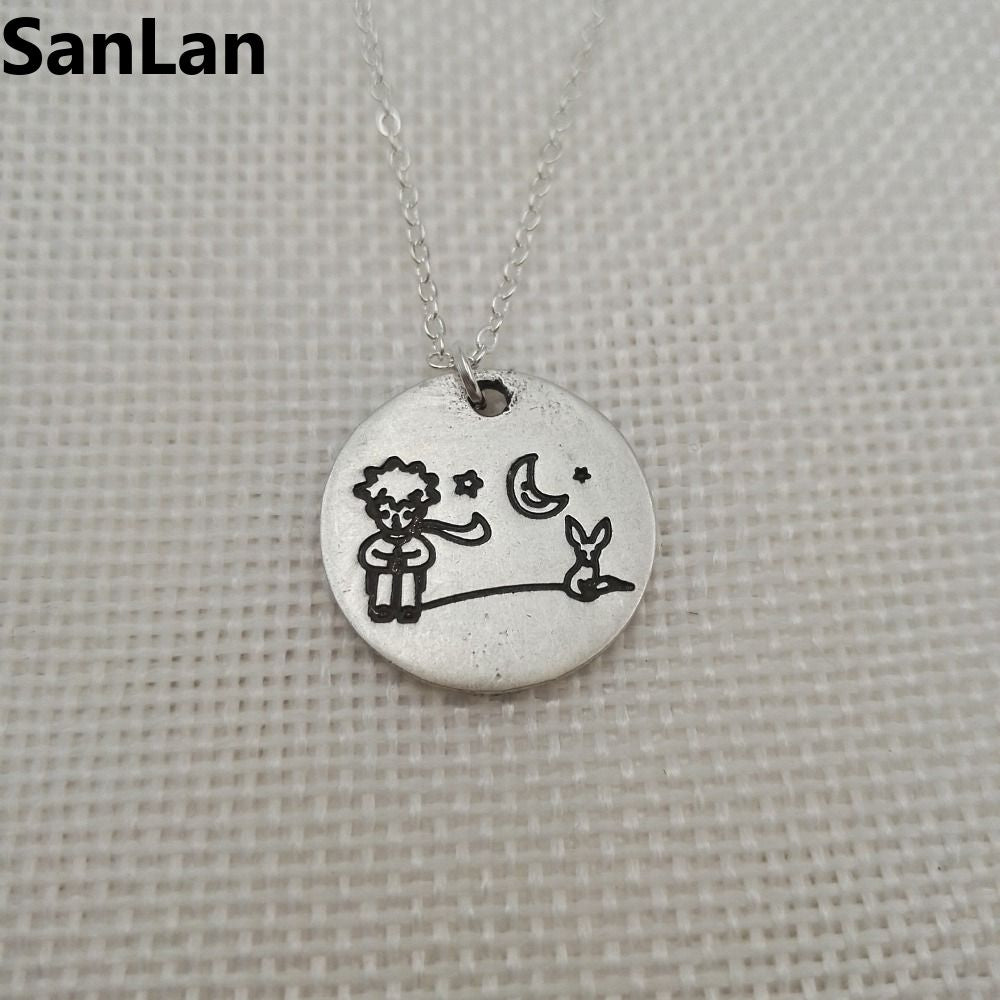 2pcs/lot Little Prince and fox pendant little prince necklace jewelry for women for child Cartoon Cute Animal Necklaces SanLan