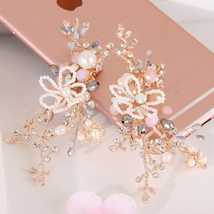 2pcs/lot Rose Gold Flower Wedding Hairpins Clip Women Prom Tiara Bride Hair Ornaments Wedding Bridal Hair Jewelry Accessories