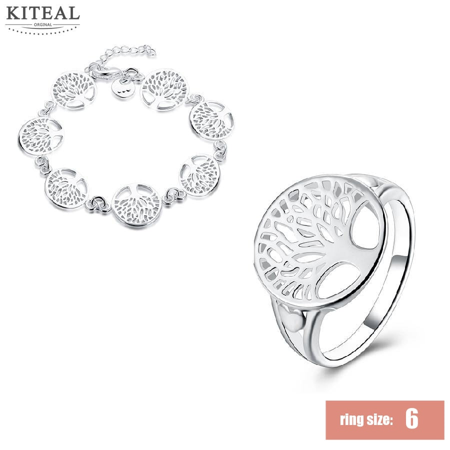 2sets 5% off online shopping india silver jewelry set tree of life finger ring 6 7 8 9&bracelets