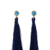 3 Color Orange&Pink&Blue Synthetic Stone Tassel Cotton Fringe Earrings Ethnic Female Online Shopping India Drop Earrings Jewelry