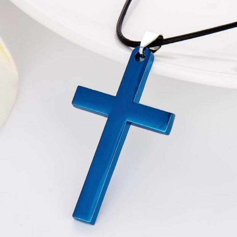 4 Colors Hot Plated Men Link Chain Necklaces Pendant Cross Solid Color Korean Version Choker Jewelry Gift