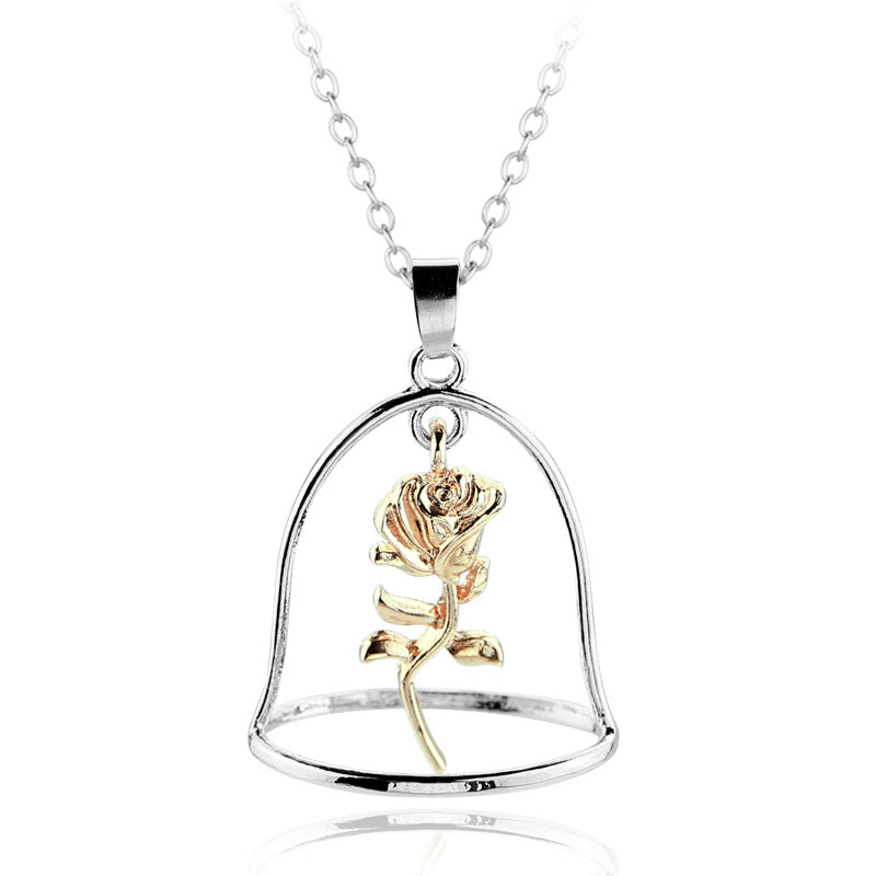 5 Types Beauty and the Beast Rose Necklaces & Pendants Beauty Beast Belle Rose Candle Statement Necklace Valentines D Gift