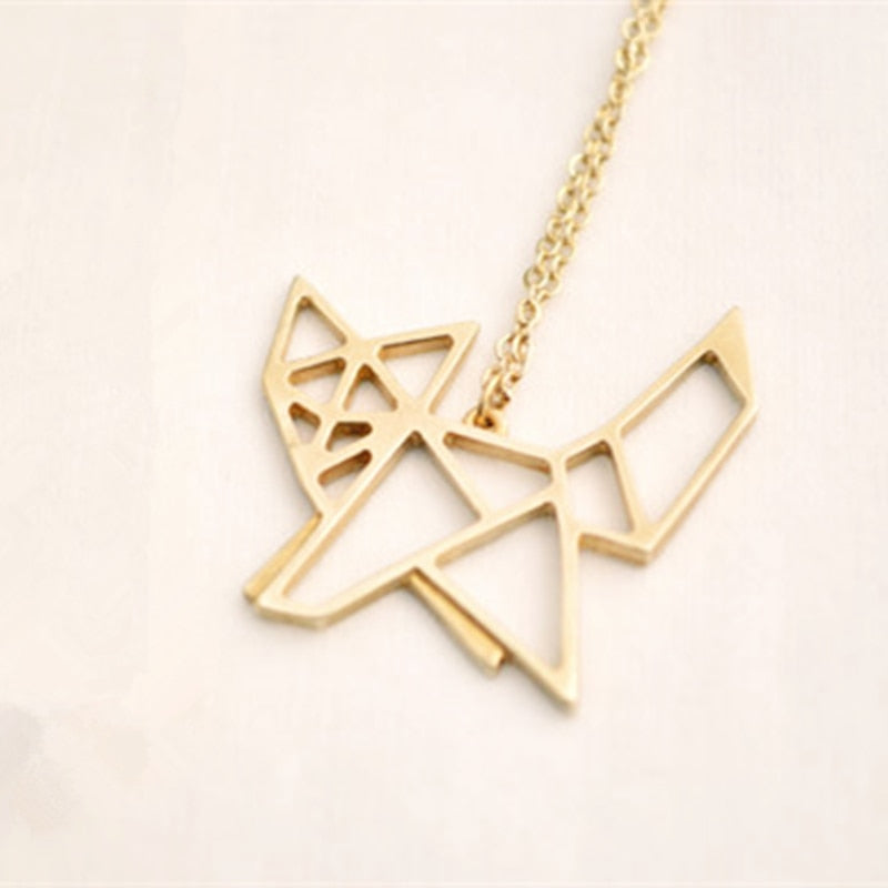 50pcs Personalized Fashion Designer Cute Origami Fox Pendant Necklace Simple Animal Jewelry In Gold Silver Plated Accessories