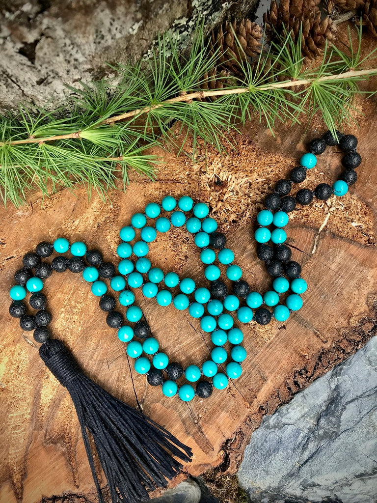 8MM Turquoises mala necklace 108 Mala beads 8MM Lava stone necklace Hand Knotted Necklaces Tassel Necklaces Prayer Bracelet Yoga