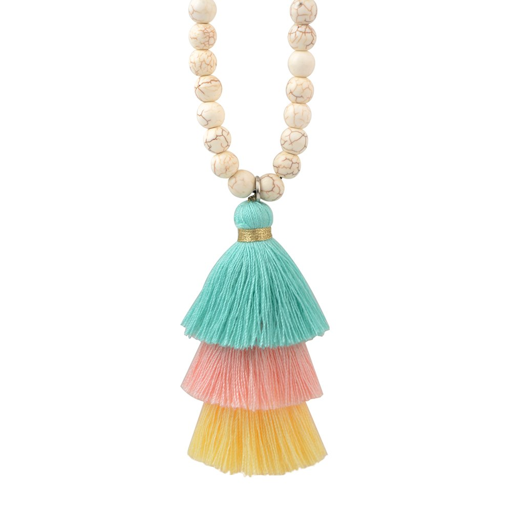 8mm Vintage Turquoises Beaded Pendant Tassel Necklace for Women Boho Long Bohemian Necklace chain Jewelry Gift 35inch