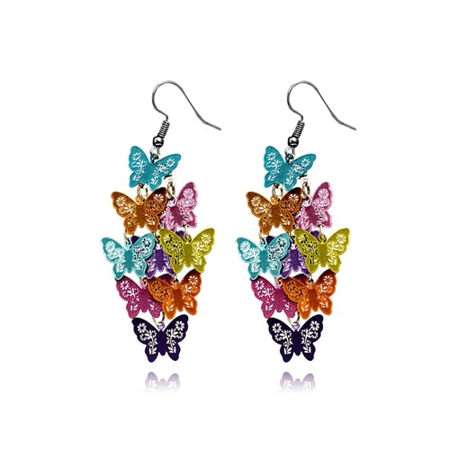 9 Crystal Butterfly Earring Dangle Drop Dragonfly Flower Dangle Earrings Wedding Bride Jewelry For Women Girls Earrings