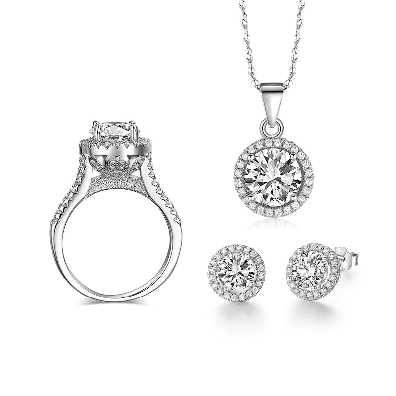 90% off Wedding Jewelry Sets for Brides 925 Sterling Silver AAAAA Level CZ Stud Earrings Ring Necklace Bridal Jewelry Set