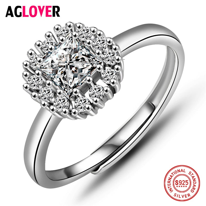 925 Silver Ring Inl AAA Crystal Jewelry Woman 100% Sterling Silver Charm Rings Fashion Female Jewelry